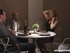 Double date turns into a dank group sex with elegant European MILFs