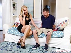 Trull wife Vanessa Cage seduces wage-earner while her husband is on a business trip