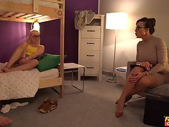 Wild FFM threesome in the hostel with Aubrey Black increased by Marilyn Make less painful