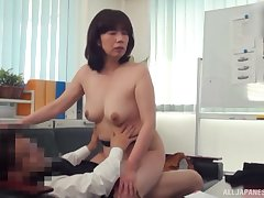 Wild fucking in the office at hand an layman Japanese mature