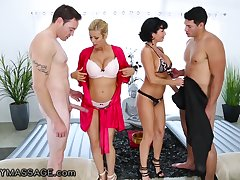 In the name of massage busty sexpots Alexis Fawx and Veronica Avluv get nailed