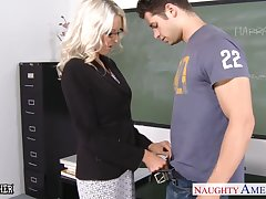 Blonde tutor Emma Starr seduces her hot student and rides his cock