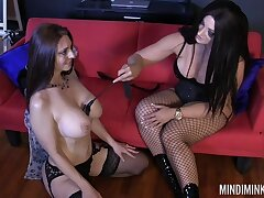 Lesbian mating on touching a strapon between Mindi Mink and her best friend