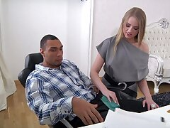 Imprecise pussy and brashness fucking between a black challenge and Milana Fox