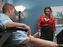 Hot-blooded cougar Karma RX rides his huge cock in the office