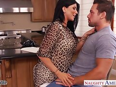 Flirty brunette with big knockers seduces partial to guy Johnny Castle